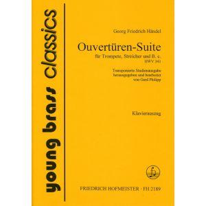 Georg Friedrich Händel: Ouvertüren-Suite für Trompete, Streicher und B.c. / transponierte Studienfassung / KlA