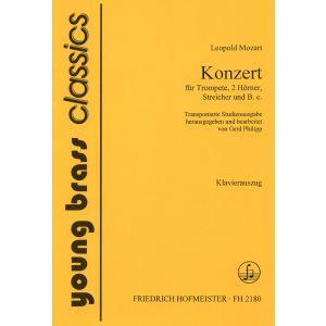 Leopold Mozart: Konzert für Trompete, 2 Hörner, Streicher und B. c. / transponierte Studienfassung / KlA.