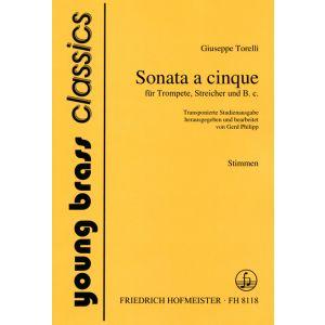 Giuseppe Torelli: Sonate a cinque für Trompete, Streicher und B. c., Stimmen