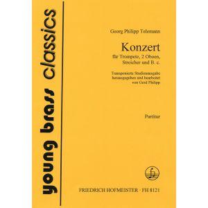 Georg Philipp Telemann: Konzert für Trompete, 2 Oboen, Streicher und B.c., transponierte Studienfassung / Partitur